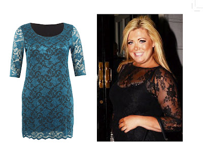TOWIE star wore our teal lace dress.