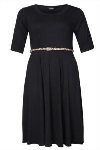 black skater dress with belt