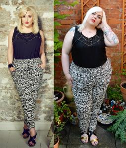 hayley_hasslehoff_yours_clothing_harem_trousers_studded_vest_sizing_model_comparison_uk_plus_size_blogger