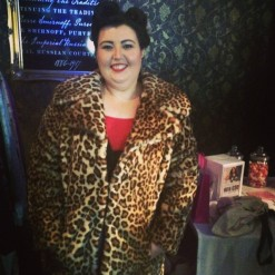 Sarah in leopard jacket