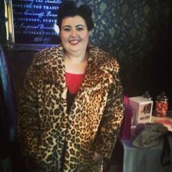 Sarah in leopard jacket