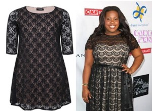 amber riley and lace dress