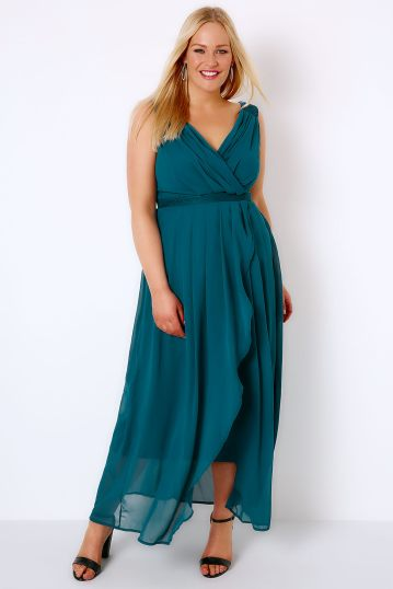 Blue teal bridesmaid dress with wrap front