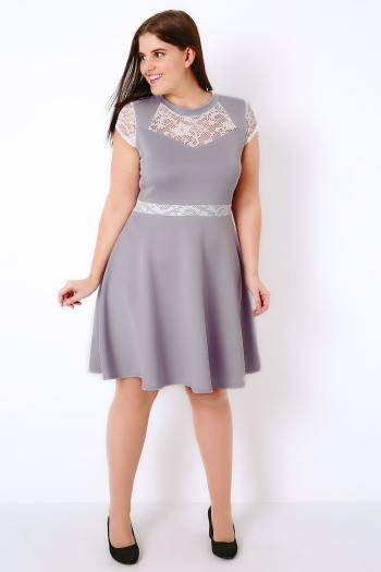 Plus size lilac bridesmaid dress with lace detail