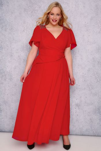 Red bridesmaid dress with angel sleeves