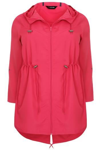 Plus size pink waterproof coat