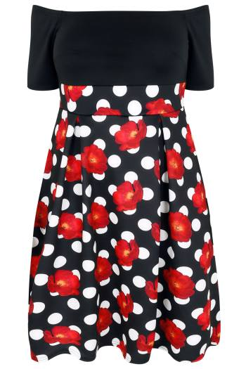 Bardot dress with polka dot floral print