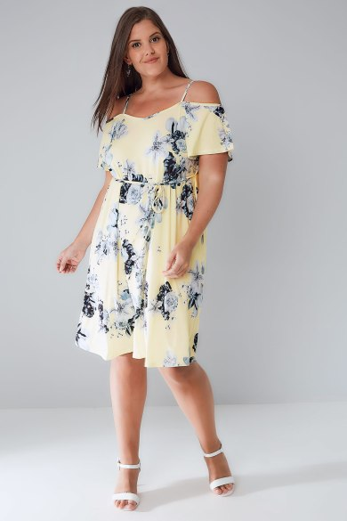 yellow, floral, summer, jersey, dress, plus-size