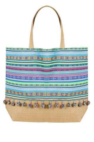 pompom, print, beach, bag