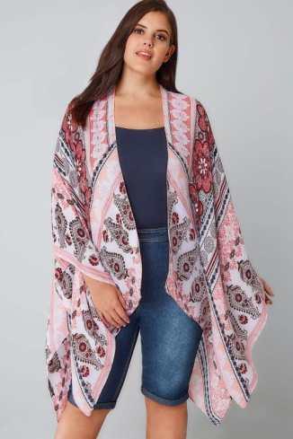 printed, aztec, boho, kimono, beach, cover-up