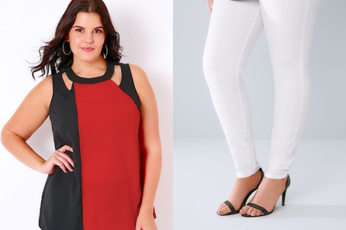 White denim jeans with black and red top