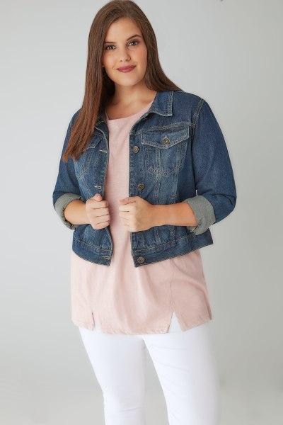 White denim jeans with a blue denim jacket