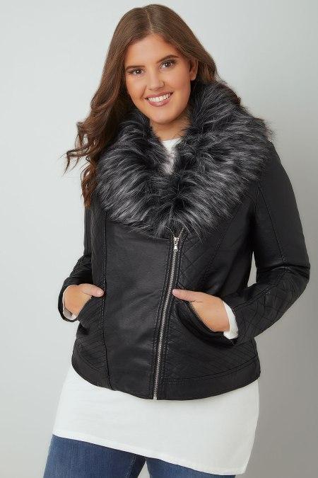 plus size model wearing leather jacket