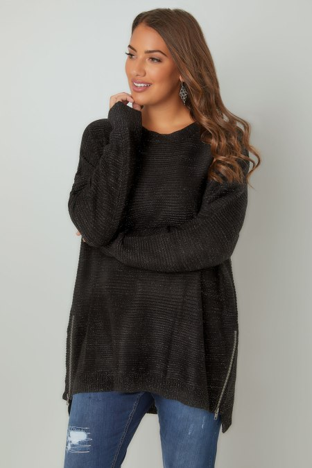 Model wearing black jumper