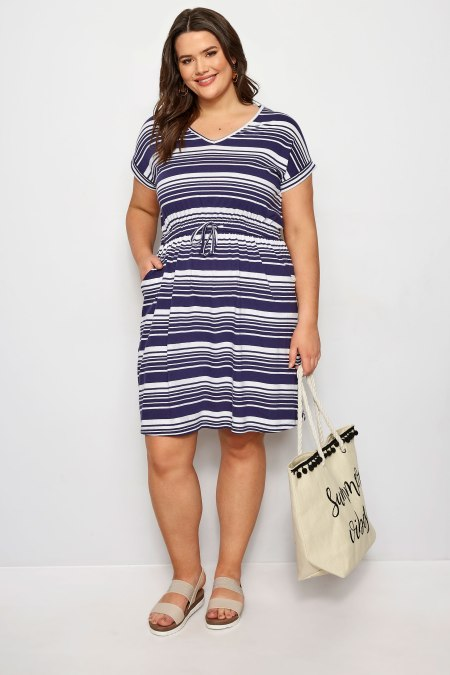 Our model wearing our Navy Stripe T-Shirt Dress
