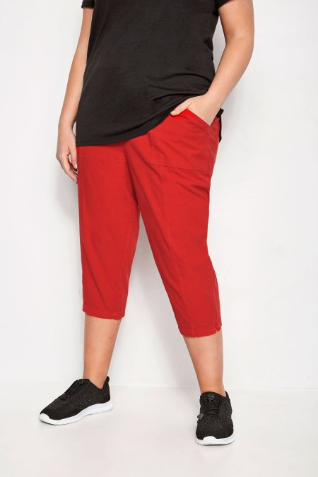 Model wearing our Red Cotton Cropped Trousers