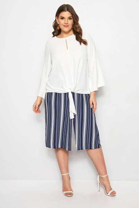 Our model wearing our YOURS LONDON Blue Stripe Wide Leg Culottes