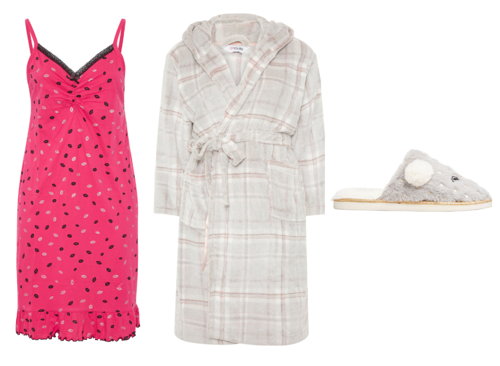 plus size chemise with plus size dressing gown and fluffy slippers