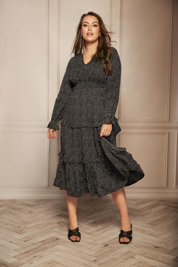 plus size Dalmatian black frill midi dress with slip on black heels