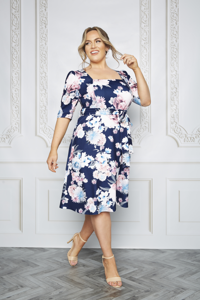 Plus Size Navy Square Neck Floral Dress Mother Of The Bride Outfits